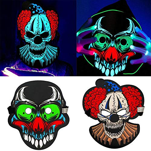 YULong Sound Activated LED Luminous Full Face Clown Mask Light Up Dance Rave Party Halloween Cosplay (Multi-Color,C) for $<!--$14.00-->