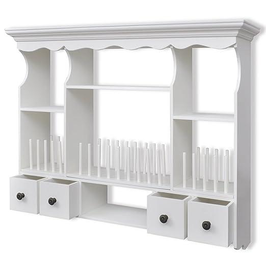 Amazon Com Festnight White Wooden Kitchen Wall Storage