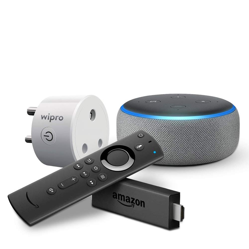 Echo Dot (Grey) bundle with Fire TV Stick and Wipro 10A smart plug
