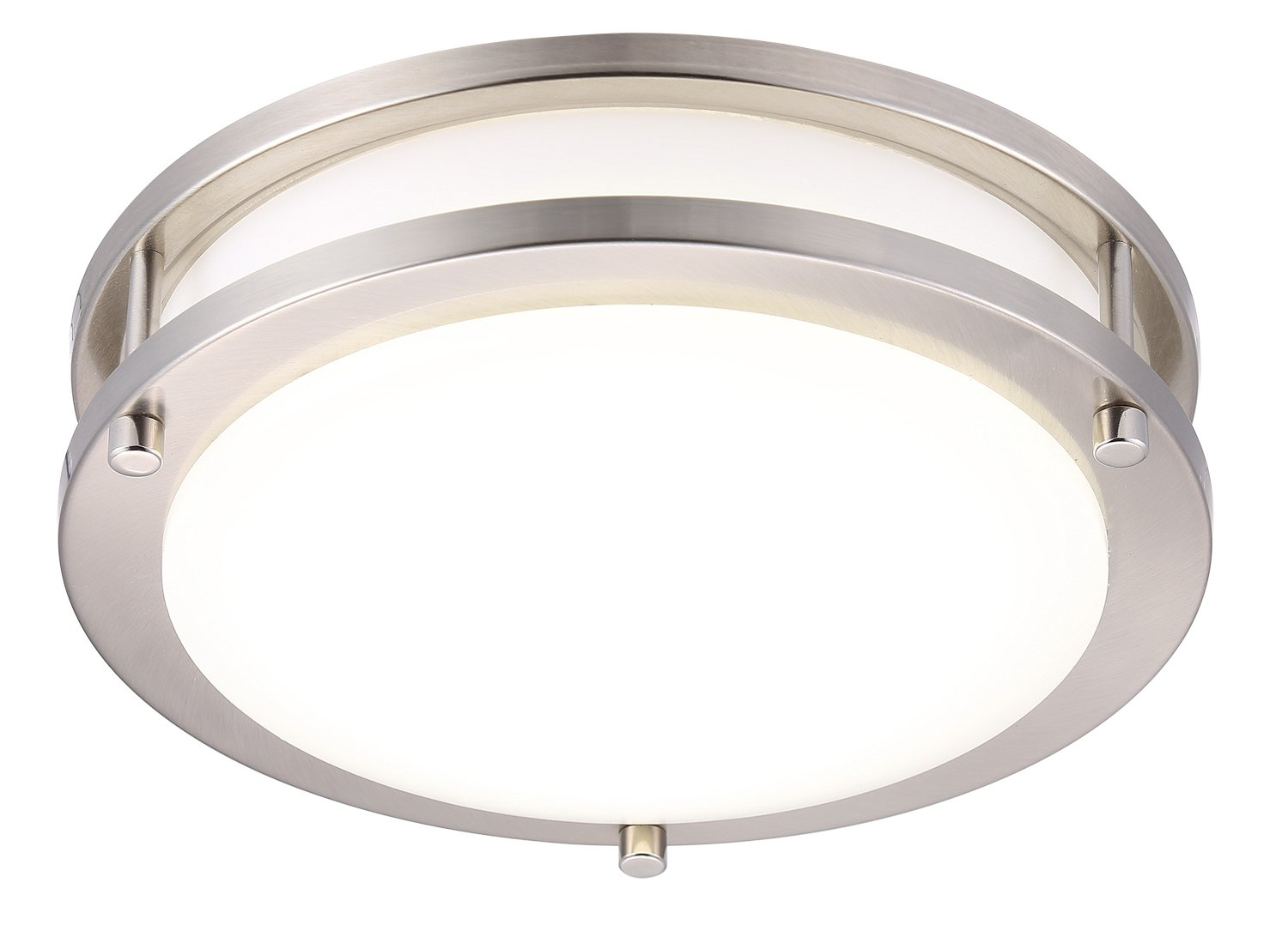 Cloudy Bay LED Flush Mount Ceiling Light,10 inch,17W(120W Equivalent) Dimmable 1150lm,4000K Cool White,Brushed Nickel Round Lighting Fixture for Kitchen,Hallway,Bathroom,Stairwell