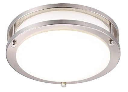 promo code 5fadb e3543 Cloudy Bay LED Flush Mount Ceiling Light,10 inch,17W(120W Equivalent)  Dimmable 1150lm,4000K Cool White,Brushed Nickel Round Lighting Fixture for  ...