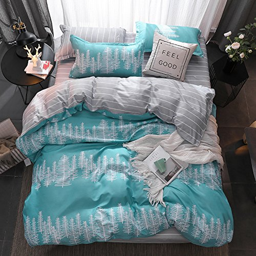 Set Duvet Cover Set Bed Flat Sheet Pillow Covers No Comforter Twin Full Queen King Sheets Set ZL Wave Forest Tree Flower Design 4pcs for Kids (Forest Tree, Grey, Queen 78