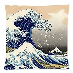 Great Wave of Kanagawa by Hokusai Throw Pillow Case Decor Cushion Cover - Square 16x16 Inch Pillowcase