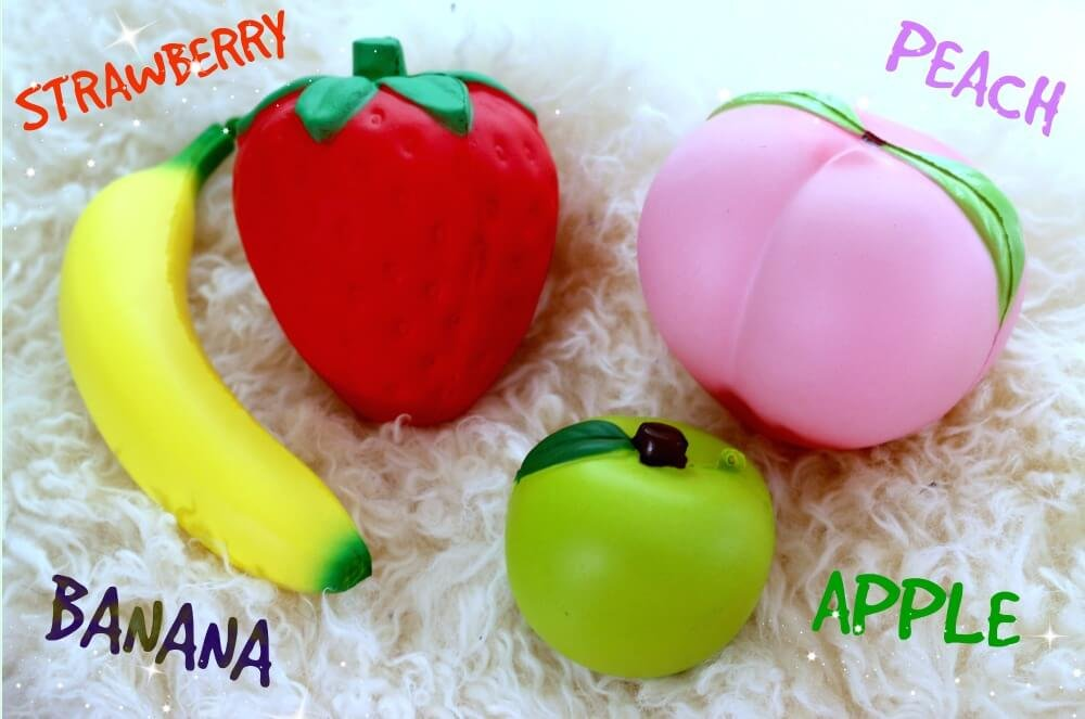 Squishies Slow Rising Jumbo Fruit - Prime 4 Pack Kawaii Squishy Toys Package Strawberry Peach Banana Apple Giant Scented Fruit Pack Cute Squishys Super Soft Stress Relief GIFT For Kids & Adults by Buylet Squishies (Image #4)