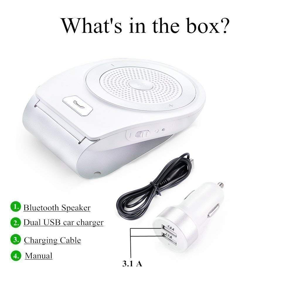 White Support GPS Music DORNLAT Wireless Car Kit Audio Receiver Auto Power On Sun Visor Car Speakerphone with Car Charger Car Bluetooth Speaker Tweeters Handsfree with Motion Sensor Calls