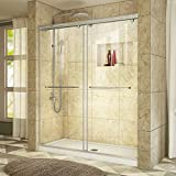 DreamLine Charisma 30 in. D x 60 in. W Frameless Bypass Shower Door in Brushed Nickel with Center Drain White Acrylic Base Kit, DL-6940C-04CL