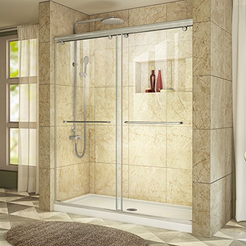 DreamLine Charisma 30 in. D x 60 in. W Frameless Bypass Shower Door in Brushed Nickel with Center Drain White Acrylic Base Kit, DL-6940C-04CL by DreamLine