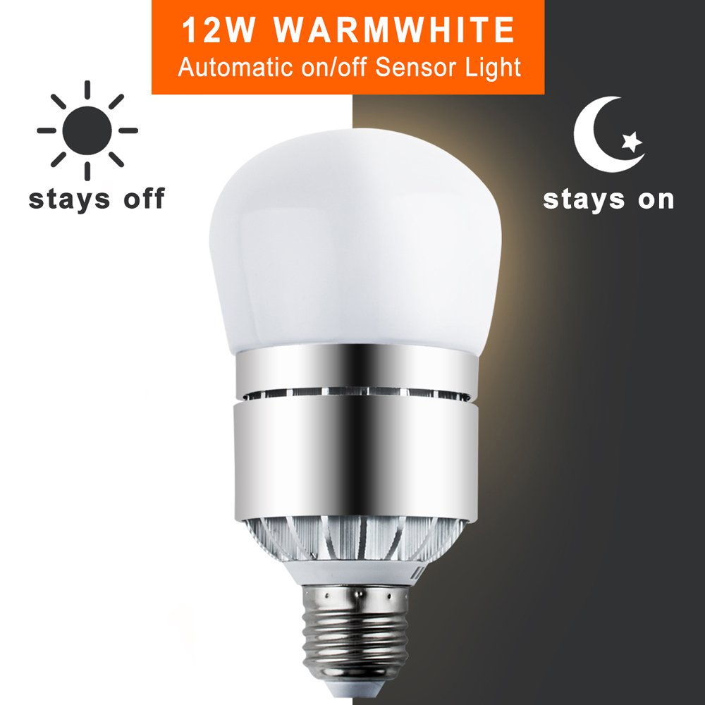 LED Light Bulbs Dusk to Dawn Sensor Lights Bulb Smart Lighting Lamp 12W 1200LM E26/E27 Socket 3200k Auto On/Off Indoor Outdoor Security Light for Porch, Garage, Driveway, Yard, Patio (Warm White) by Vgogfly (Image #1)