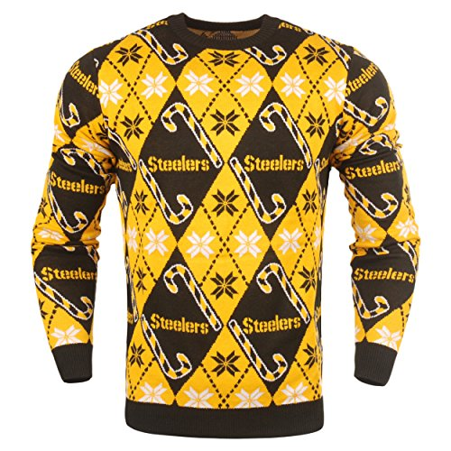 Pittsburgh Steelers Candy (Pittsburgh Steelers Official NFL Candy Cane Repeat Crew Neck Sweater)