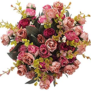 Duovlo 7 Branch 21 Heads Artificial Flowers Bouquet Mini Rose Wedding Home Office Decor,Pack of 4 (Rose Red) 47