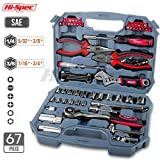 "Hi-Spec 67pc Auto Mechanics Tool Kit including Professional 3/8"" Quick Release Ratchet Handle with 72 Teeth, Most Reached for SAE Sockets & Home and Garage Hand Tools Set in Durable Storage Case"