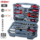Hi-Spec 67pc Auto Mechanics Tool Kit including Professional 3/8″ Quick Release Ratchet Handle with 72 Teeth, Most Reached for SAE Sockets & Home and Garage Hand Tools Set in Durable Storage Case