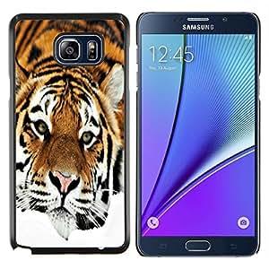 YiPhone /// Prima de resorte delgada de la cubierta del caso de Shell Armor - Triste Tiger Stripes Naranja felino - Samsung Galaxy Note 5 5th N9200