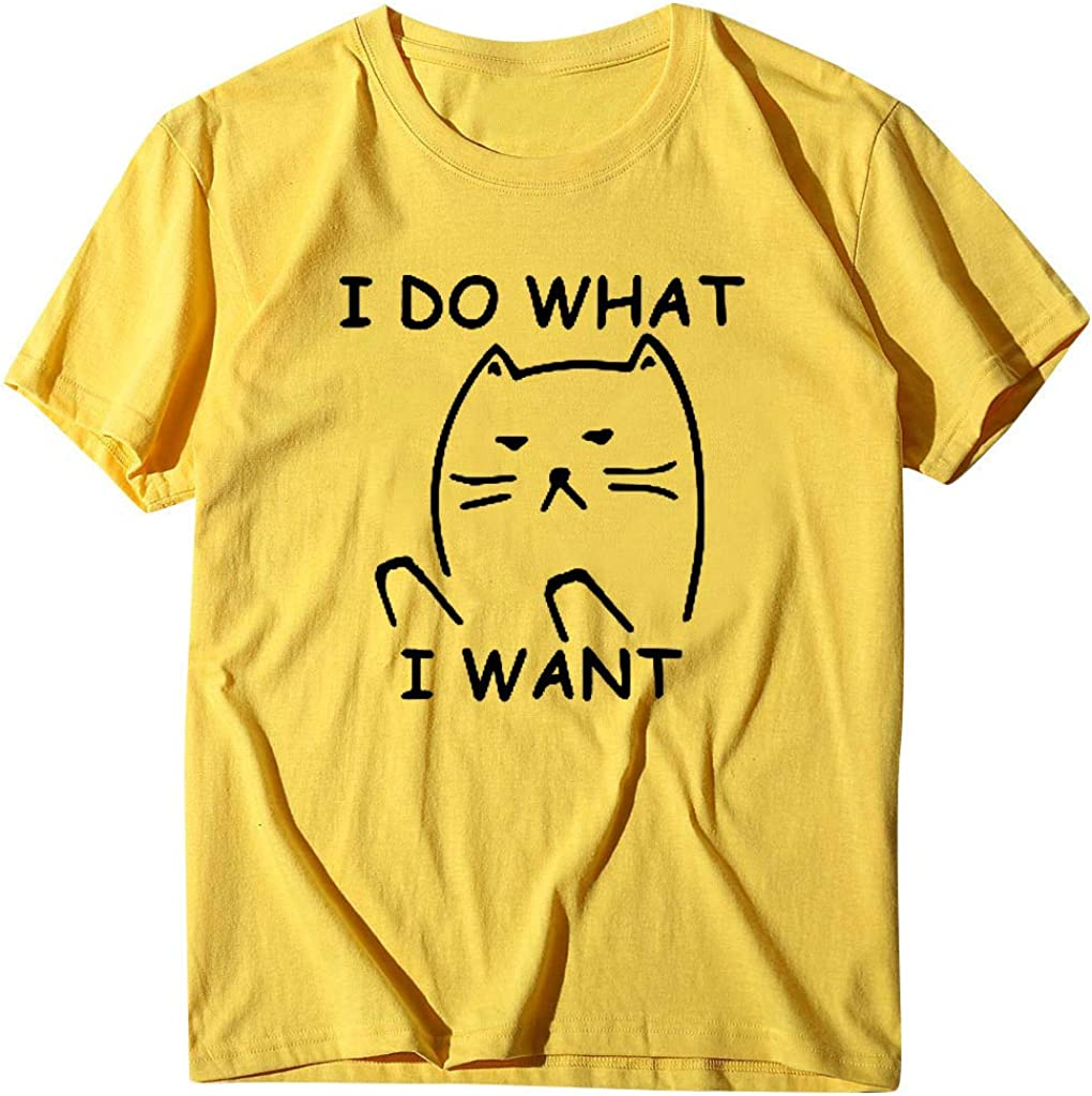 Pumsun Tops I Do What I Want Shirt Womens Short Sleeve T-Shirt Funny Letter Print Tee Casual Loose Tops Womens Blouse