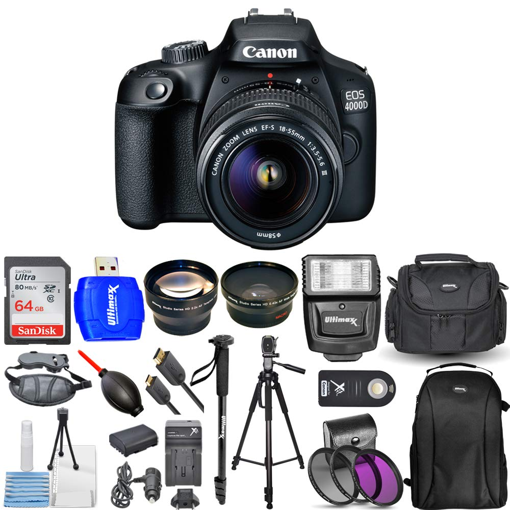 Canon EOS 4000D / Rebel T100 DSLR Camera with 18-55mm f/3.5-5.6 III Top Value 3 Lens Kit Bundle with 64GB Memory Card, Flash, Backpack, Case, Filter Kit and Much More by Canonbh