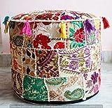 Jaipur International Textiles Indian Vintage Cotton Handmade Ottoman Cover Hippie Round Floor Pillow Foot Stool Throw Living Decor Patch Work Pouffe 18''