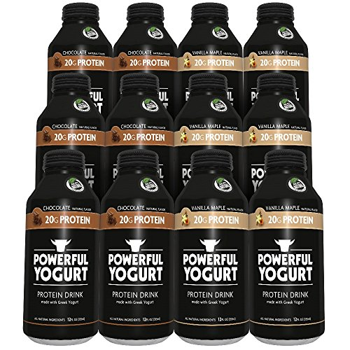 Powerful Yogurt High Protein Drink Best Sellers Variety Pack, Chocolate/Vanilla Maple, 12 Count