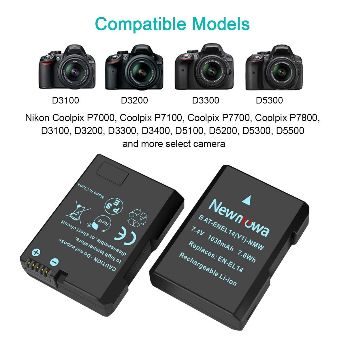 e caricabatterie Dual USB intelligente per Nikon EN-EL14 EN-EL14a Nikon D3100 D3200 D3300 D3400 D3500 D5100 D5200 D5300 D5500 D5600 P7000 P7100 P7700 P7800 confezione da 2 Newmowa EN-EL14 Batteria