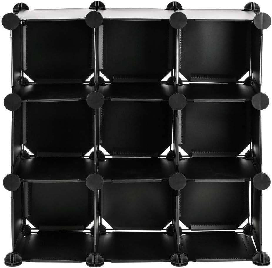 Armoire penderie Cabinet etag/ère de 9 Cubes de 17x17cm en Plastique Noir PrimeMatik