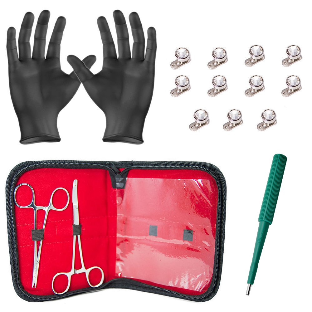 Dermal Body Piercing Kit - 2 Stainless Steel Forceps with 11 Dermal Tops with Clear Gems and 11 4mm Anchors Surgical Steel + Free Gloves, Carrying Pouch, and Dermal Punch by BodyJewelryOnline