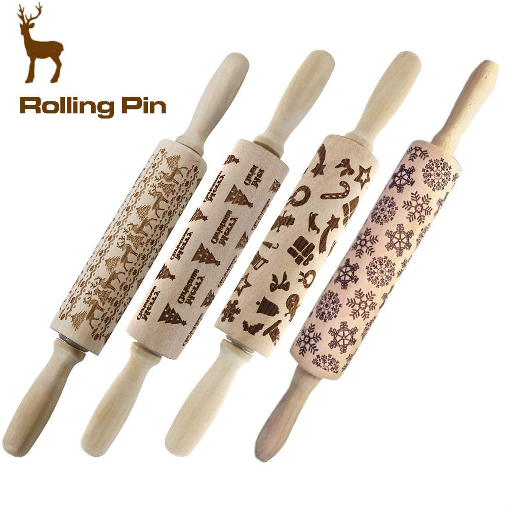 Christmas Wooden 3D Rolling Pins embossed, Embossing Rolling Pin with Engraved Christmas Themed Symbols for Baking Embossed Cookies,Rolling Pin Kitchen Tool(14 in) by Asionper
