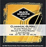Black Diamond Clear Trebles/Silver Plated Wound Loop End Classical Gtr Strings