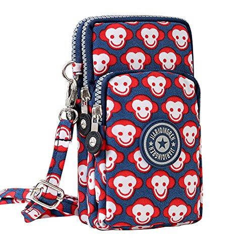 Wocharm New Multifunction Cell Phone Bag Purse Mini Crossbody Wristlet Handbags Cute Monkey