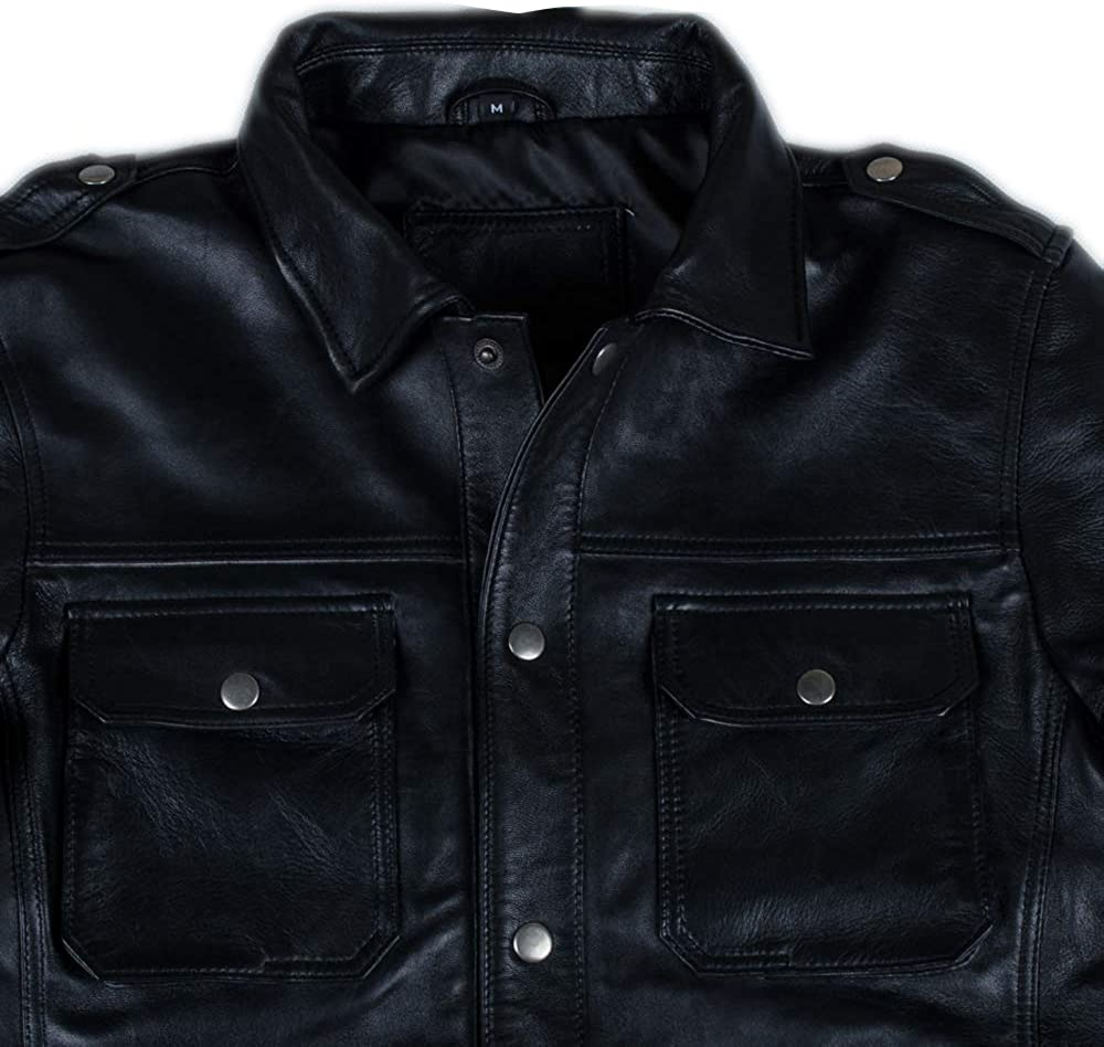 Men/'s Slim Fit Button Style Black Biker Sheepskin Real Leather Jacket