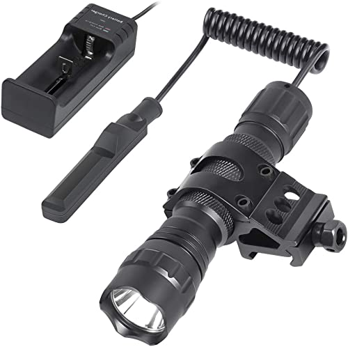 Nelahol Tactical Light Tactical Flashlight 1200 Lumen 200m Beam with Rechargeable Batteries Charger Remote Pressure Button Switch QD Picatinny Rail Mount