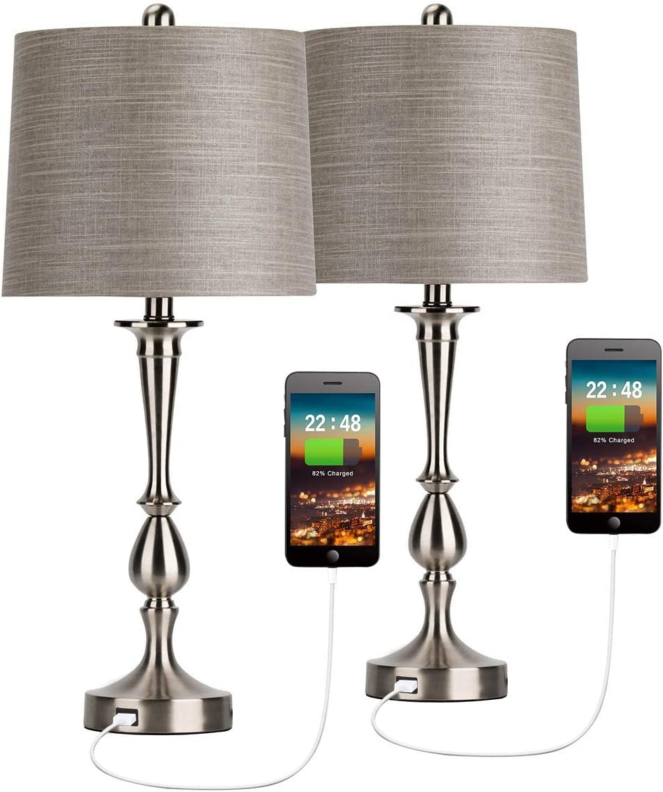 Amazon Com Oneach Usb Table Lamp Set Of 2 Modern Bedside Desk Lamp With Usb Port For Living Room Bedroom Coffee Table 25 Nickle Finish Home Improvement