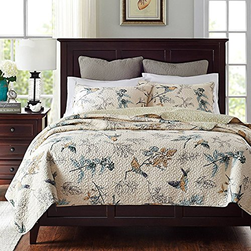 Brandream American Country Comforter Sets, Birds Printing Queen Quilt Set,  Beige 3Pcs