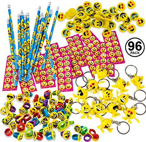 Emoticon Party Favors - 96 Pc Set - Prizes for Kids - Emoticon Party Supplies - Goody Bag Filler by Tigerdoe