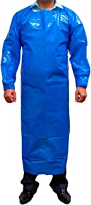 SAFE HANDLER PEVA Apron, Polyethylene Vinyl Acetate | Open Back for Easy Removal, Waterproof and Disposable, BLUE