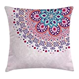 Queen Area Mandala Ethnic Ornamental Figure Meditation Spiritual Zen Boho Style Print Square Throw Pillow Covers Cushion Case for Sofa Bedroom Car 18x18 Inch, Pale Pink Teal Purple