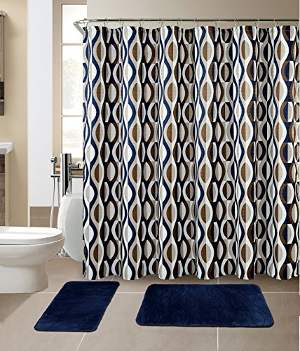All American Collection All American Collection New 15 Piece Bathroom Mat Set Memory Foam with Matching Shower Curtain (Helix Navy) price tips cheap
