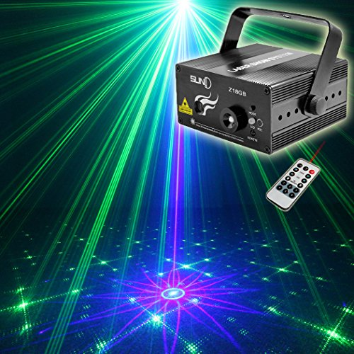 Green Laser Stage Light (SUNY Xmas Stage Laser Light Blue Green GB 18 Mixed Pattern Projector Christmas LED Multiple Pattern Decorative DJ Xmas Home Holiday Event Party Show Lights)