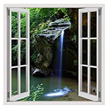 "Alonline Art - Waterfall Stream Fake 3D Window VINYL STICKER DECAL 28""x28"" - 71x71cm Adhesive Vinyl Decal For Home Decor Wall Art Stickers Wall Decor Sticker For Kitchen For Bedroom Artwork"