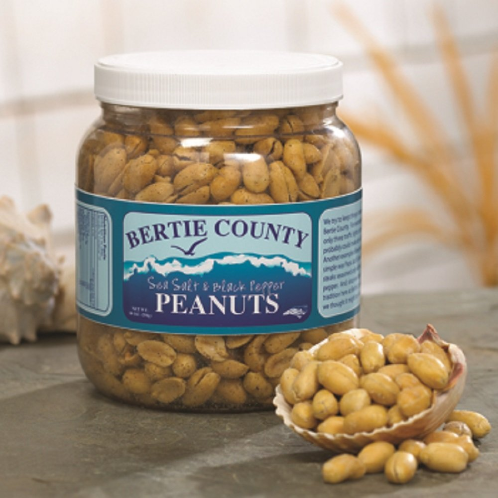 Bertie County Cocktail Peanuts - Sea Salt and Black Pepper Flavor - 30 Ounce Jar - Made From Blister Fried Peanuts by Bertie County Peanuts