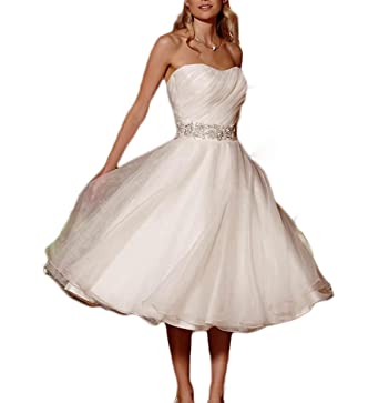 Udresses Vintage Vestidos de Novia Short Tea Length Bridal Wedding Gowns for Women UD25