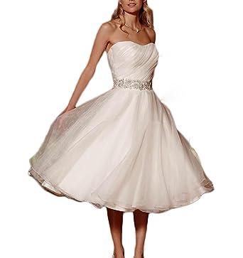Udresses Vintage Vestidos de Novia Short Tea Length Bridal Wedding Gowns for Women UD25