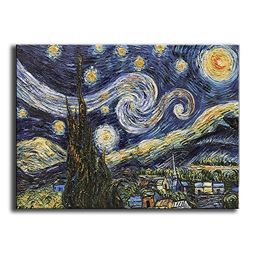 YaSheng Art -hand painted Oil Painting On Canvas Blue Starry Night by Vincent Van Gogh Work Abstract Oil Paintings Framed Modern Home Wall Art For Living Room Bedroom Dinning Room Ready to hang (Night Oil Painting)