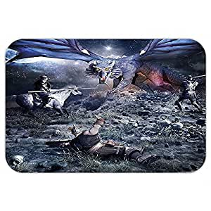 vroselv Custom puerta matfantasy dragón lucha con Medieval knightwar escena en Gothic Fiction Dark azul gris purplegrey
