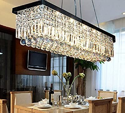 "Siljoy L47"" X W10"" X H10"" Black/Polished Chrome Finish Clear K9 Crystal Modern Rectangle Chandelier"
