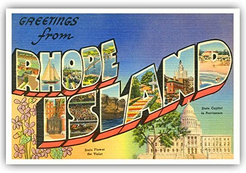 Amazon.com : GREETINGS FROM RHODE ISLAND vintage reprint postcard set of 20  identical postcards. Large letter US state name post card pack (ca.  1930's-1940's). Made in USA. : Office Products
