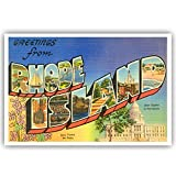 GREETINGS FROM RHODE ISLAND vintage reprint postcard set of 20 identical postcards. Large letter US state name post card pack (ca. 1930's-1940's). Made in USA.