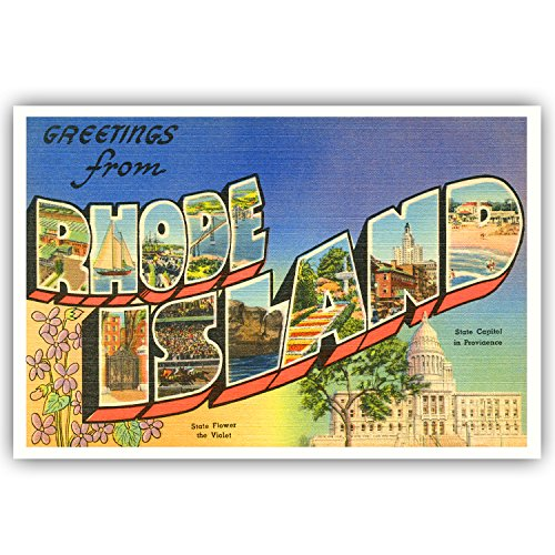 GREETINGS FROM RHODE ISLAND vintage reprint postcard set of 20 identical postcards. Large letter US state name post card pack (ca. 1930's-1940's). Made in USA. (Postcard Island)