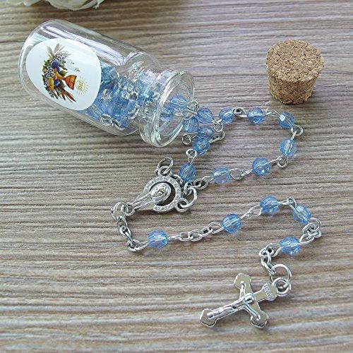 (First Communion Rosary Favor Blue (12) PCS - 5 Decdes/Recuerdos Para Primera Comunion)
