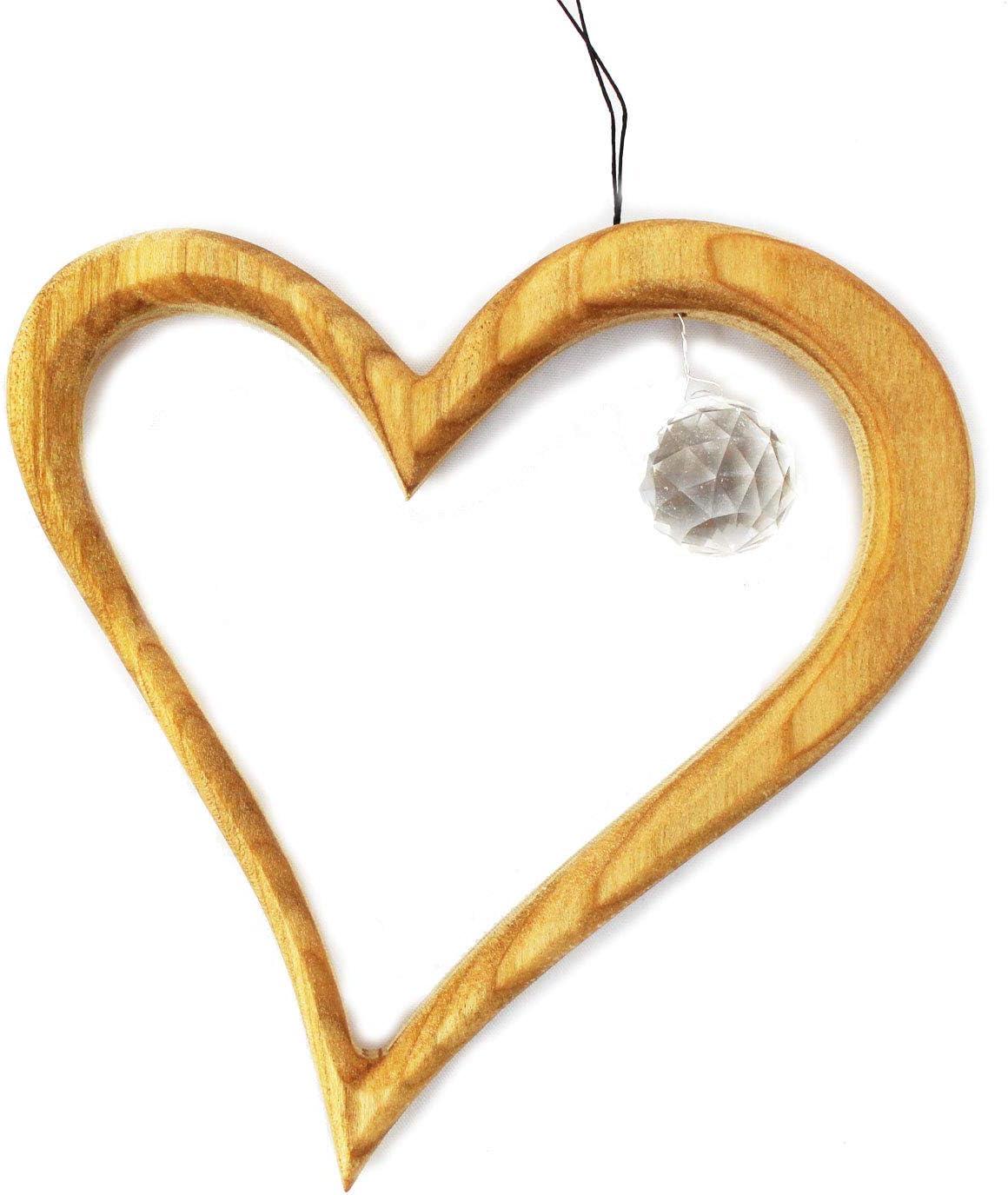Fensterschmuck Fensterdeko Geschenkidee Valentinstag Muttertag Weihnachten Fenster Deko zum Aufh/ängen Herz aus Holz mit Kristall