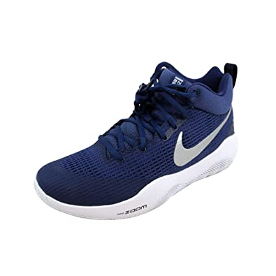 Nike Men s Zoom Rev TB Basketball Shoes Navy Blue Metallic Silver-White  (922048 f9a183ea1