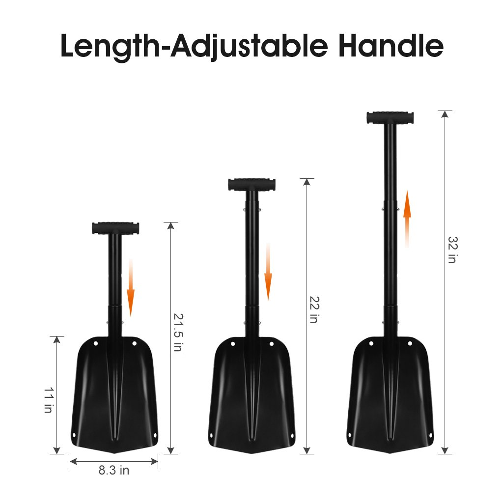 Finether Aluminum Durable Shovel with Adjustable Handle and T Grip Utility Portable Shovel, Black by Finether (Image #3)